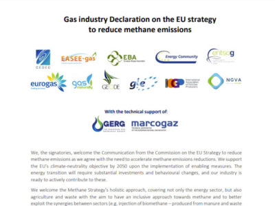 Gas industry Declaration on EU Strategy to reduce Methane Emissions